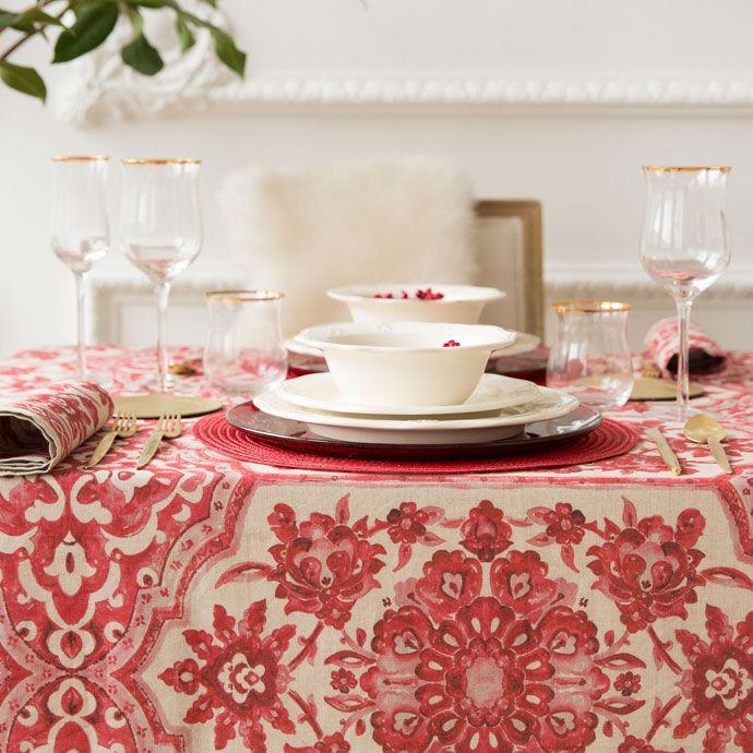 Toalha de mesa e guardanapos linho estampado digital floral
