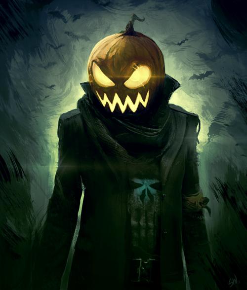 BijouxNoir Halloween illustration, Dessin citrouille