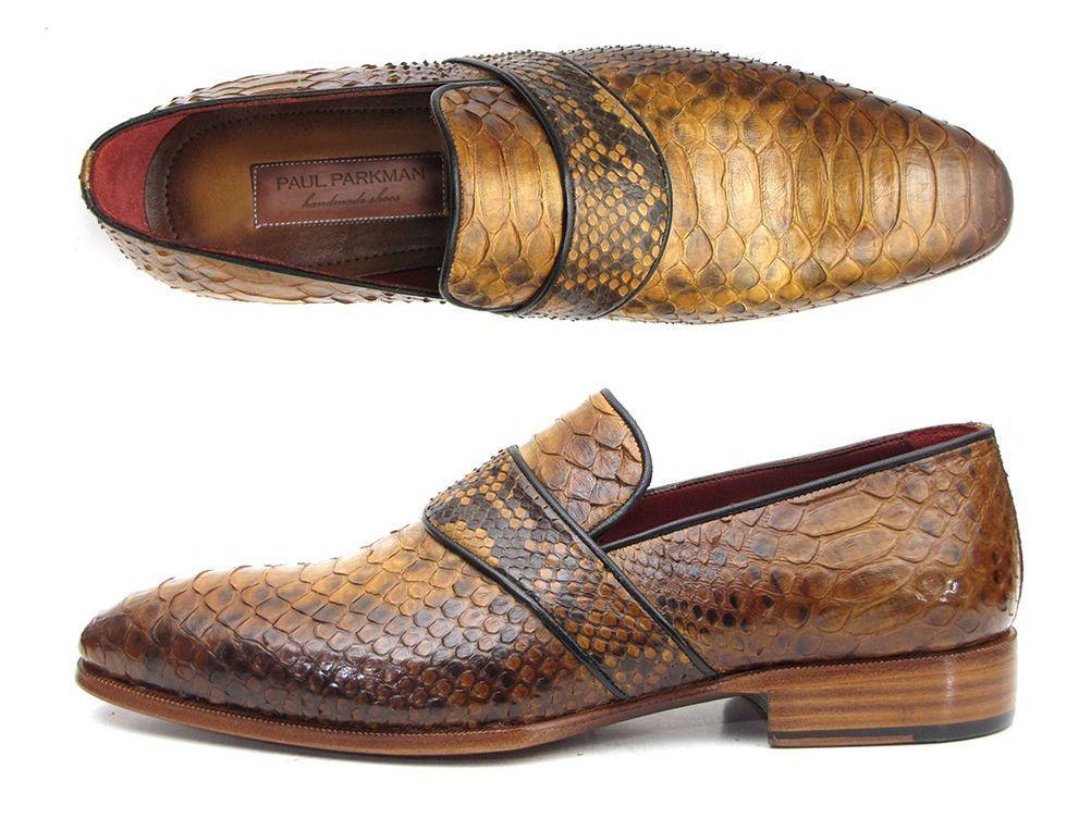 Paul Parkman Men's Genuine Python Loafers Camel