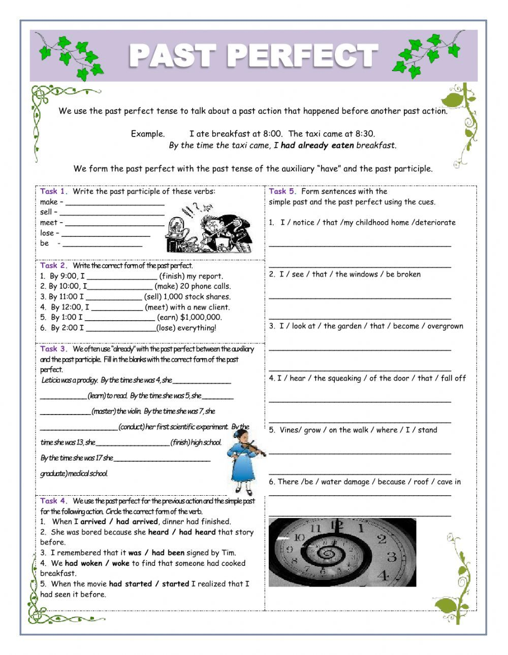 Past Perfect Interactive And Downloadable Worksheet Check Your Answers Online Or S English As A Second Language English Grammar Worksheets Intermediate School Participle worksheets with answers