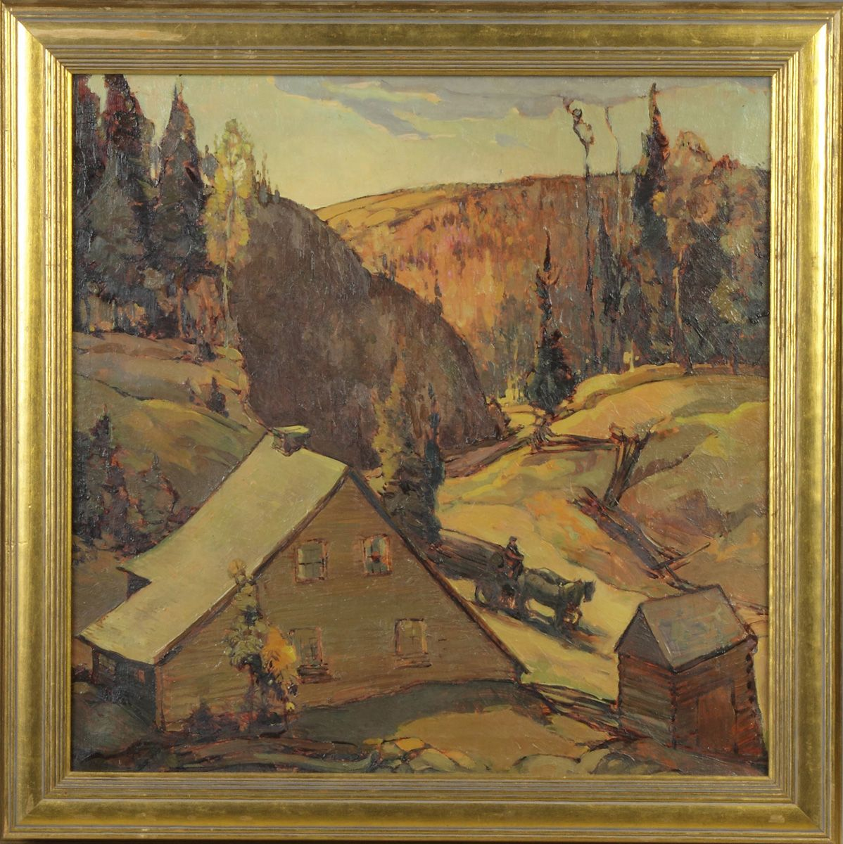 "Oil on canvas painting by Alexander Levy, ""Bringing Home the Logs""  price realized: $6,000"