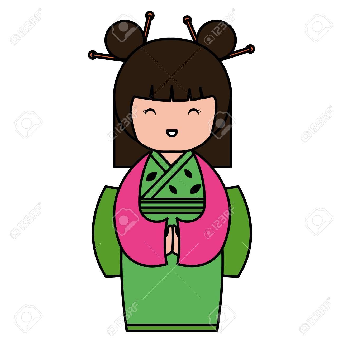 little japanese doll kawaii character vector illustration design ,