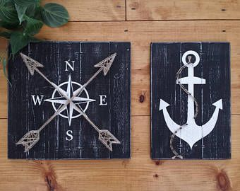Photo of NAUTICAL ART SET, 3 pc set, large nautical rustic beach decor, nautical on wood, anchor decor, whale decor, coastal decor, Nautical nursery