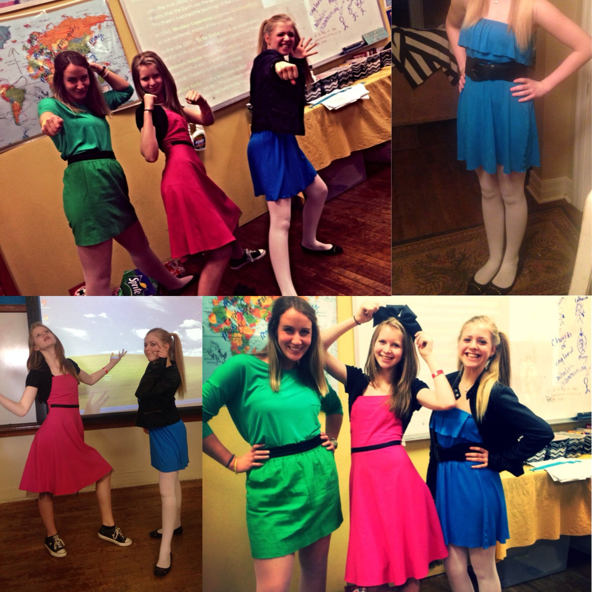 Me my friend and my teacher were the Powerpuff girls for twin day. Multiplicity day  try to get as many people as you can to dress
