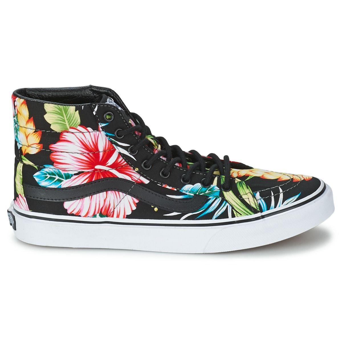 Cheap Vans Sk8 Hi Slim Low Top Shoes (FlowersBlack),Vans