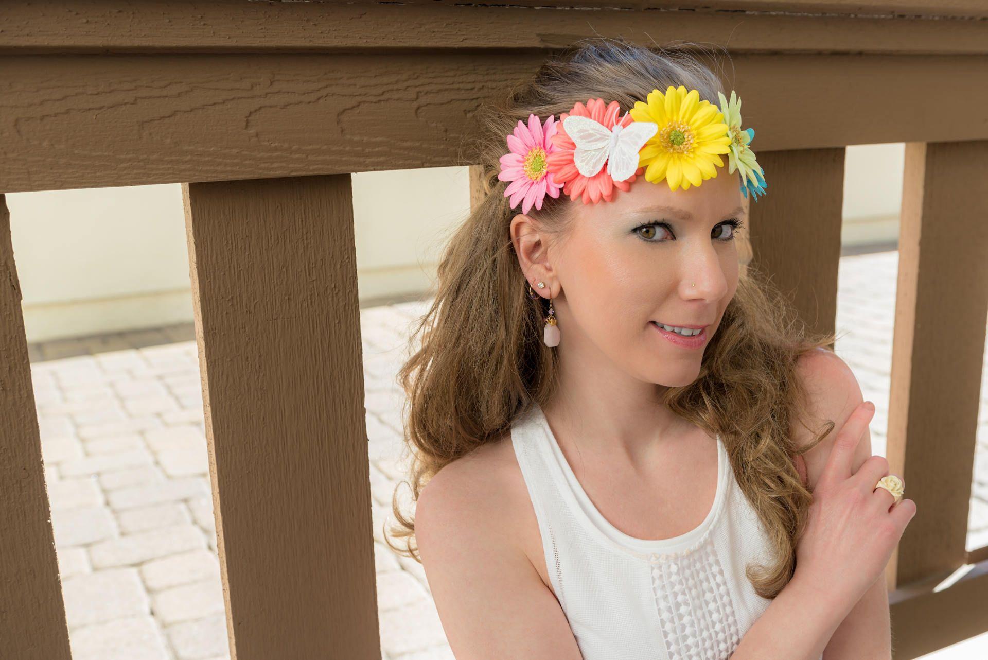 Pastel Rainbow Daisy Flower Crown Flower Headband Kawaii Headband