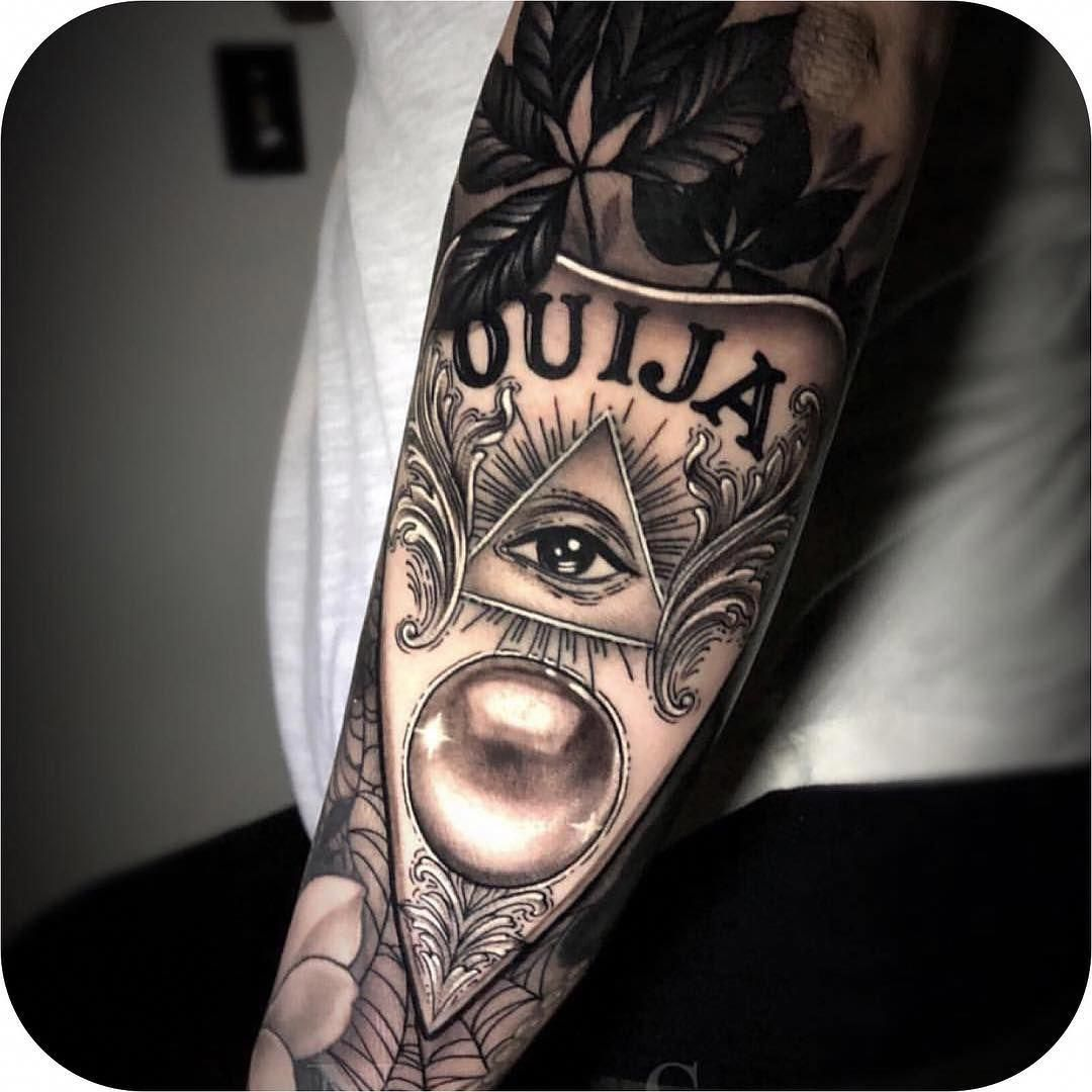 Tattoodo On Instagram Ouija Planchette Made By Nikkisimpsontattoos At Gritnglory Tattoodo Cool Scary Tattoos Witchcraft Tattoos All Seeing Eye Tattoo