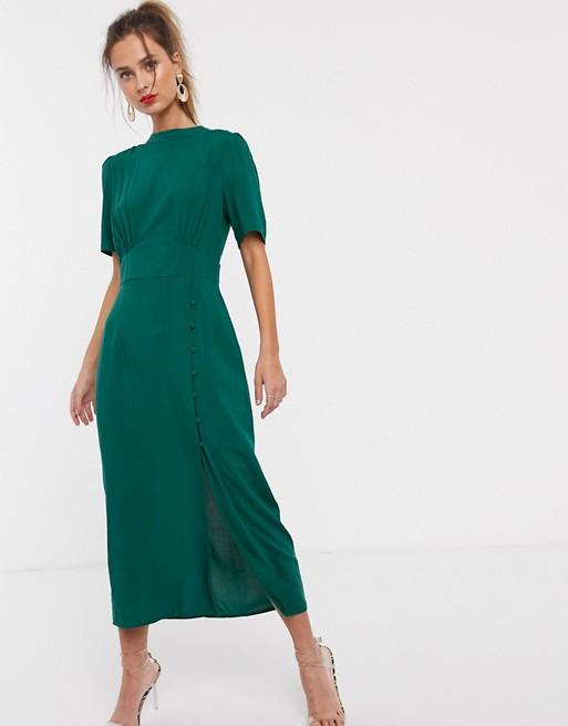 Asos Design Midi Tea Dress With Buttons Asos In 2020 Tea Dress Fashion High Fashion Street Style