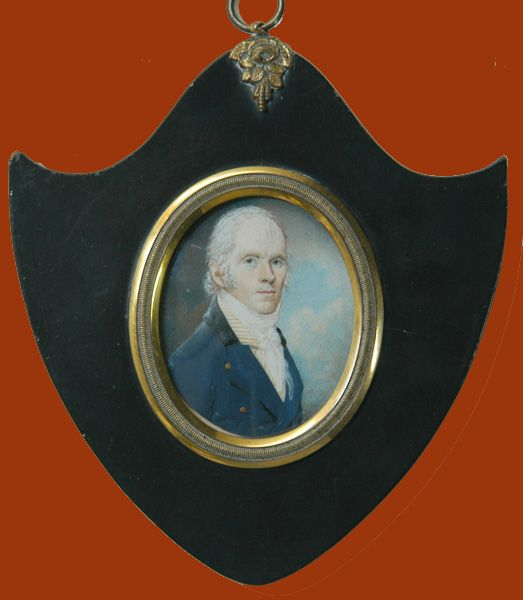 Wonderful portrait miniature on ivory of a well-dressed gentleman with blue frock-coat. Ca 1780