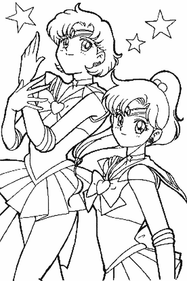 Sailor Mercury And Jupiter Sailor Moon Coloring Pages Moon