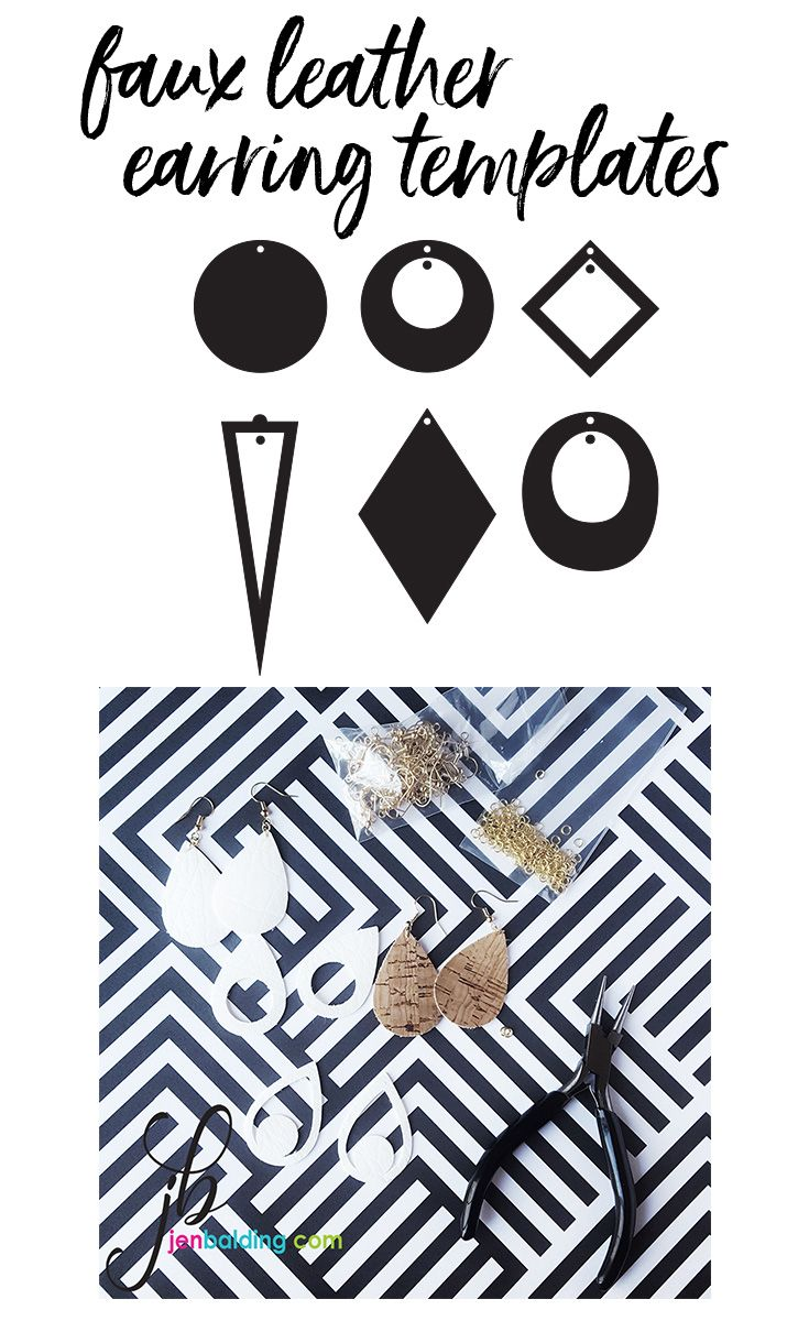 Faux leather earring templates SVG, DXF for silhouette and ...