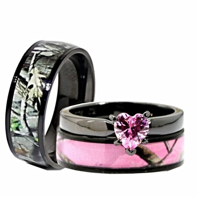 His Her Black Pink Titanium Camo Heart Stainless Steel Engagement