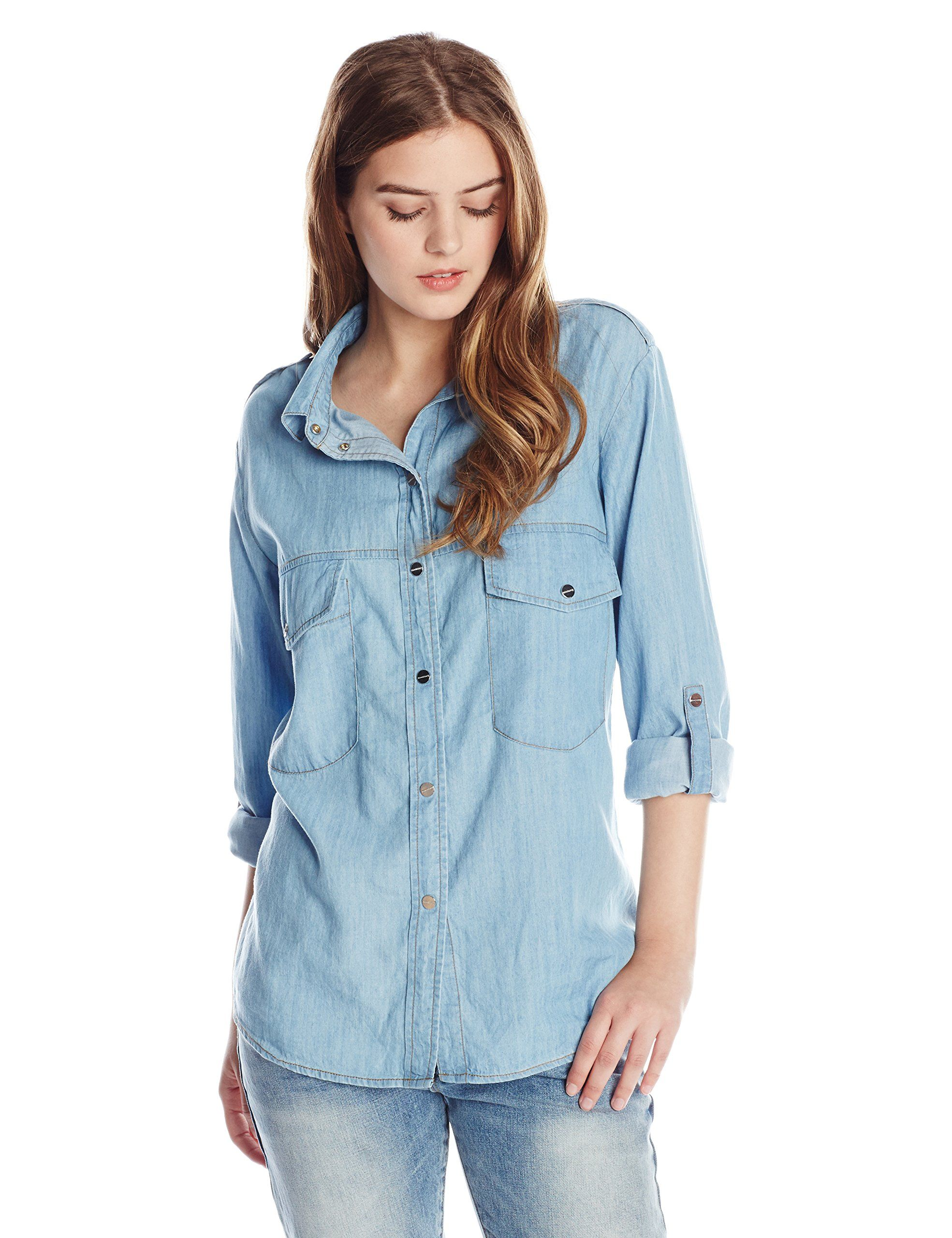 2a54cebfb6 Sanctuary Clothing Women s Boyfriend Denim Tencel Shirt