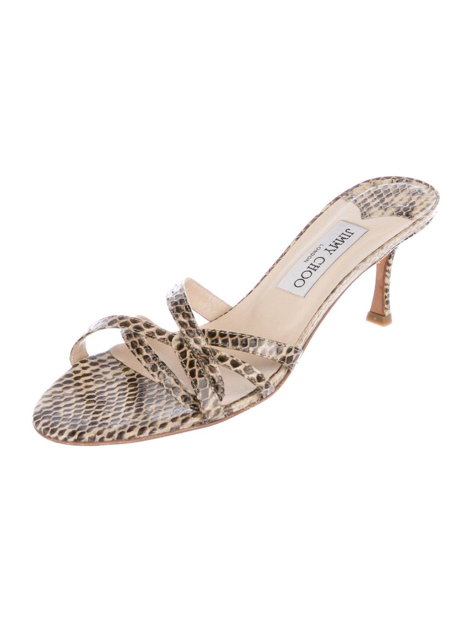 Jimmy Choo Elaphe Snakeskin Slide Sandals Shoes Jim116083 The Realreal Slide Sandals Sandals Jimmy Choo