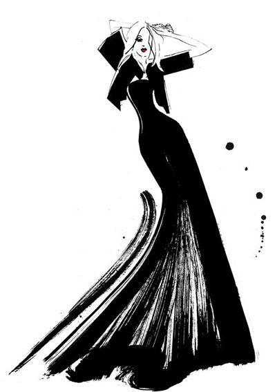 Margarete Gockel Fashion Illustration #MargareteGockel #FashionIllustration #BlackEveningGown #Illustration