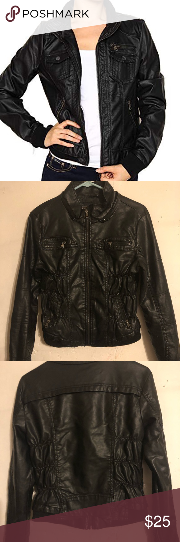 Casual Faux Leather Jacket Ci Sono By Cavalini Black Faux Leather Casual Jacket Large Junior Used Leather Jacket Faux Leather Jackets Clothes Design