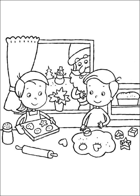 kleurplaat Kerstmis (meer) - Kerstkransjes bakken Coloring Pages
