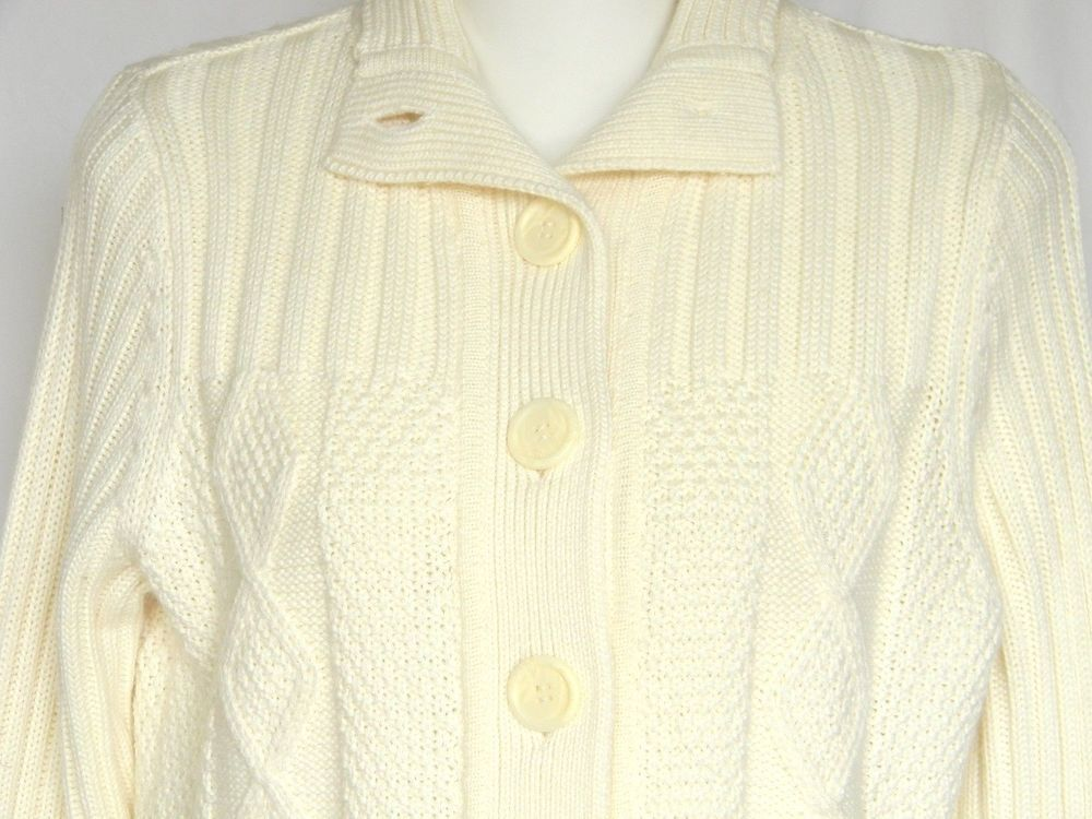 Cream Off White Ivory Cable Knit LL Bean Sweater Cardigan Womens ...