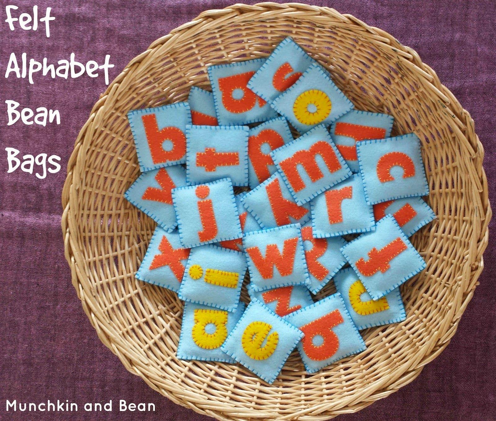 Felt Alphabet Bean Bags - craft tutorial  #feltcrafts #kidsactivities