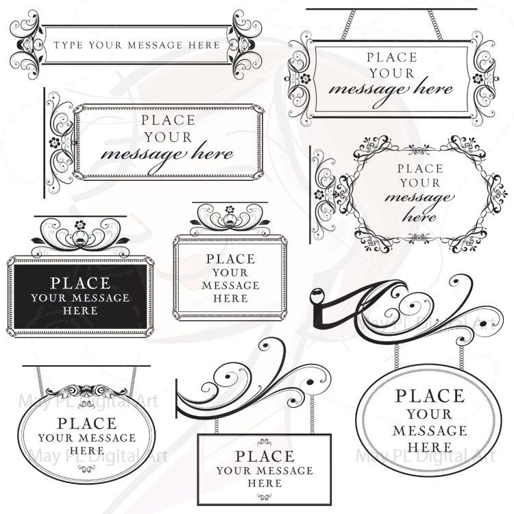 Victorian Frame Signs Floral Flourish Borders Business
