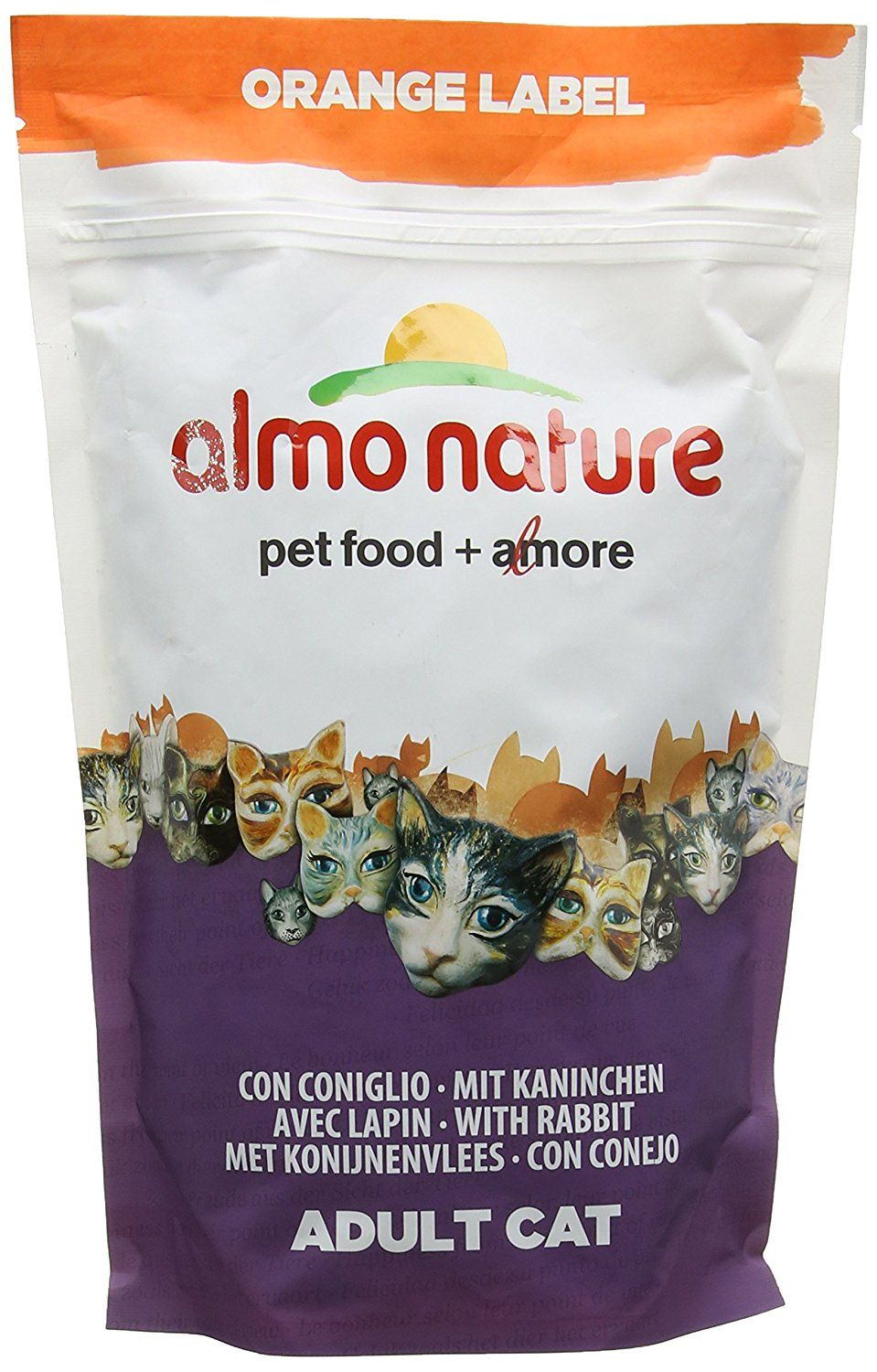 Almo nature dry cat food orange label with rabbit you