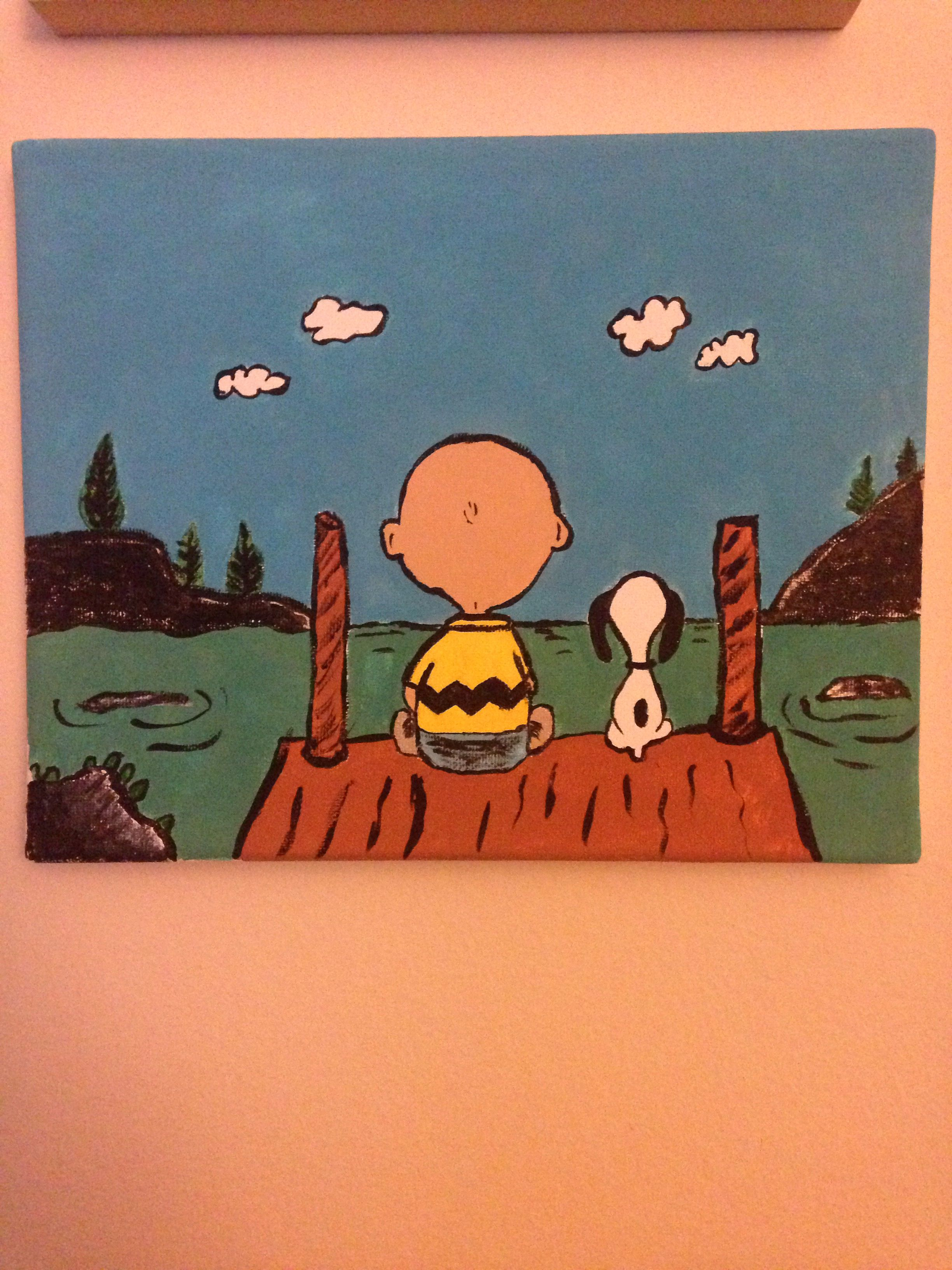 Charlie Brown And Snoopy Painted On Canvas Cartoon Painting Funny Paintings Cute Canvas Paintings