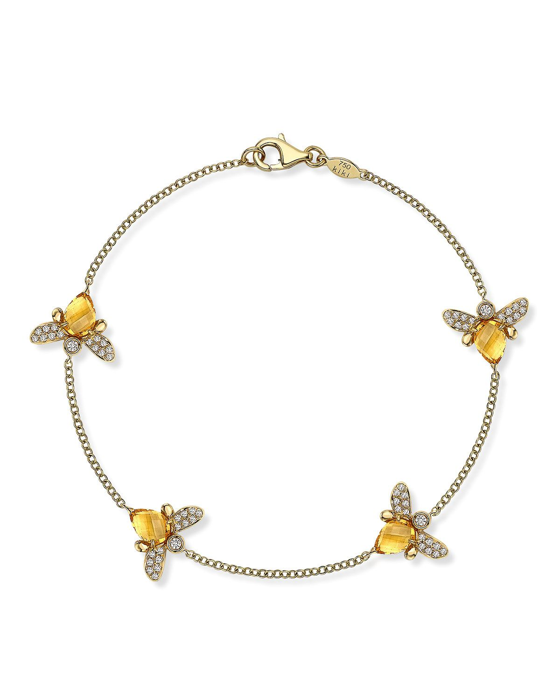 Kiki Mcdonough Eve Bee Bracelet With Citrine And Diamonds
