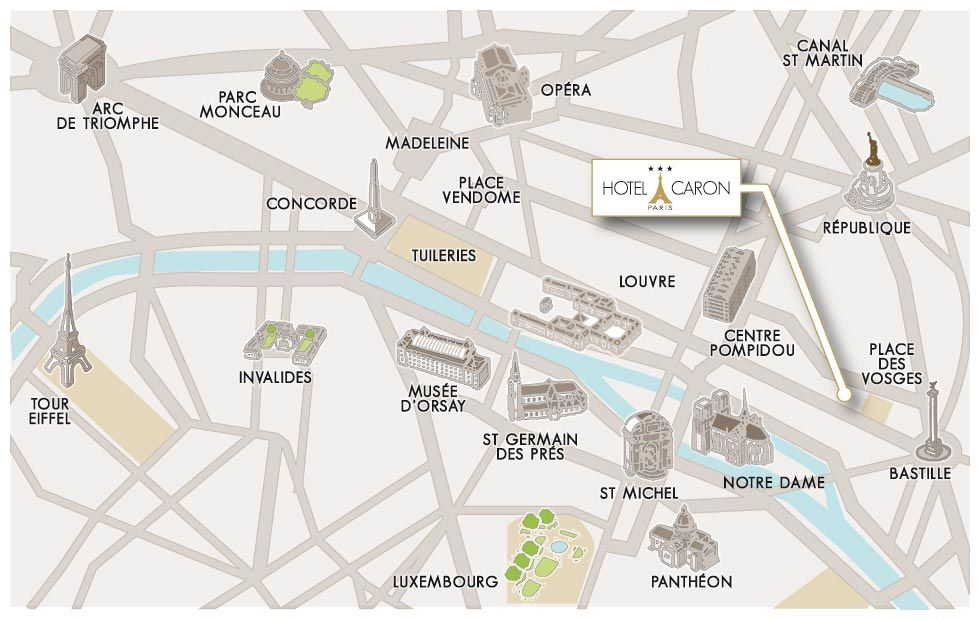 map of paris hotel caron in the marais district
