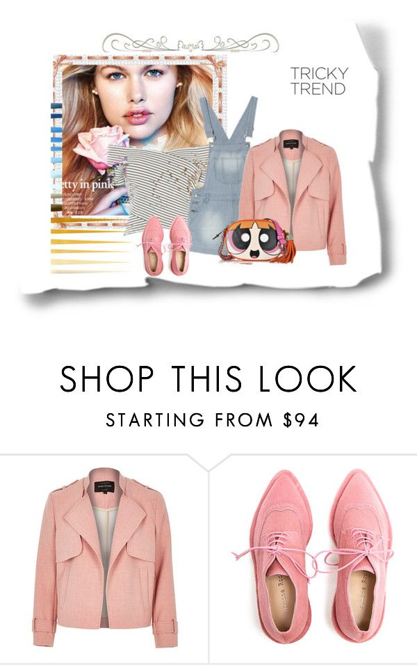 """Pretty in Pink"" by peeweevaaz ❤ liked on Polyvore featuring River Island, Simone Rocha, Moschino, TrickyTrend and overalls"