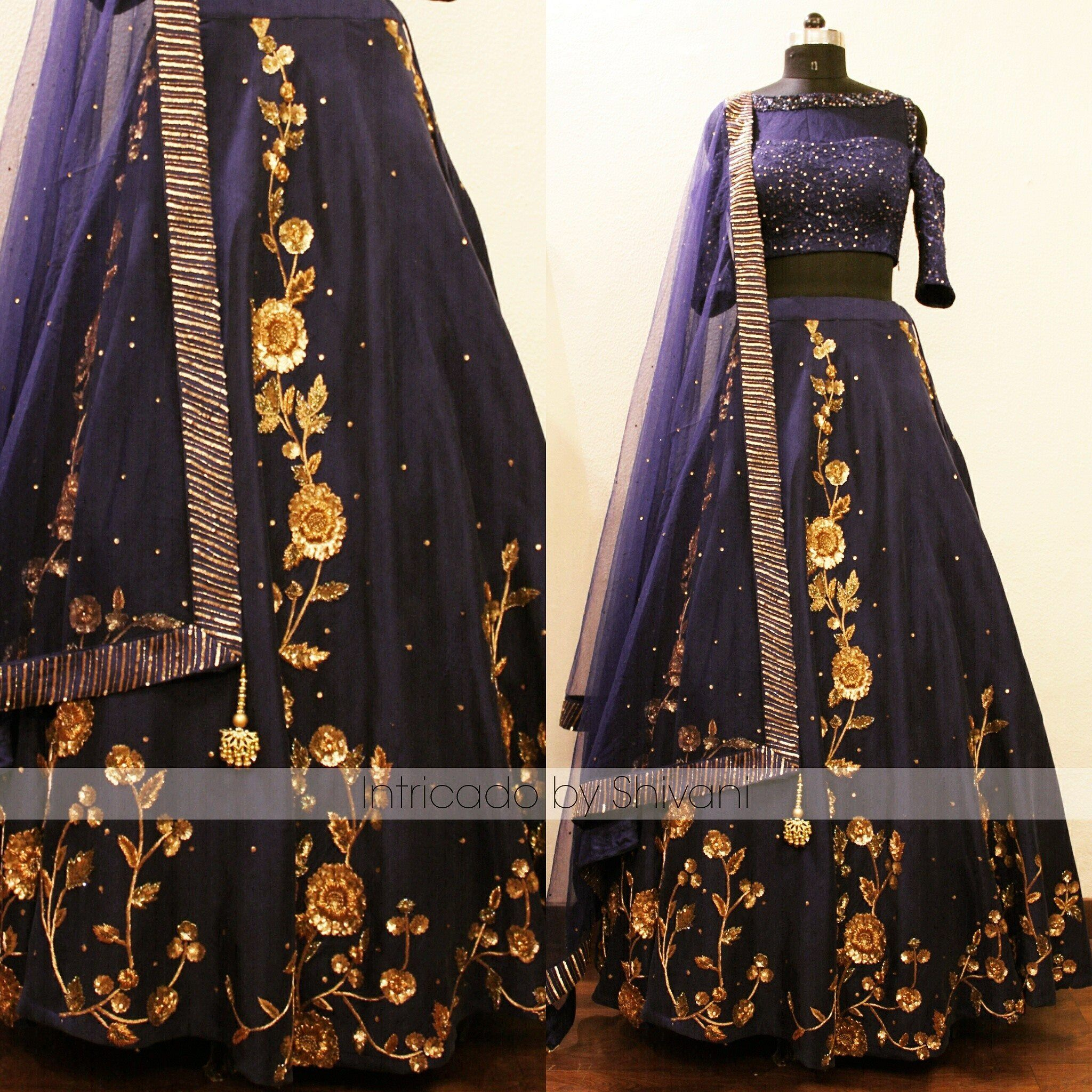 Sequins and zardozi embroidered blue color silk lehenga with pure chantilly lace cold-shoulder blouse. Can be made in any color or size.