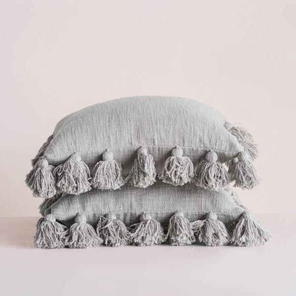 Tassel Pillow - Grey
