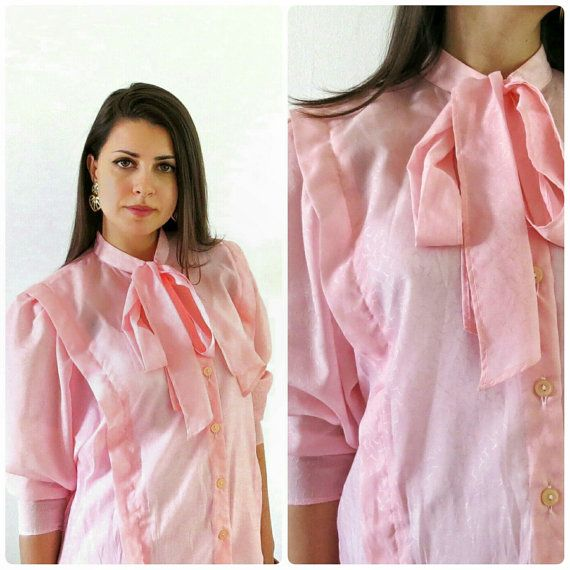 Vintage baby pink pussy bow blouse/Pleat detail by girlsaboutcity