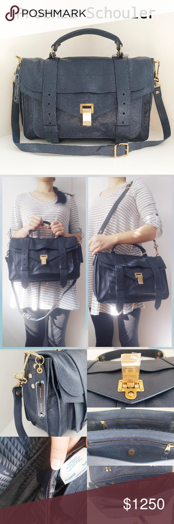 """🆕 Proenza Schouler Medium PS1 Satchel Navy Blue Spark accessory envy with Proenza Schouler's iconic PS1 satchel, cast in supple lambskin leather in a scene-stealing dark navy blue hue.  Flip-lock closure. Optional, adjustable strap. Exterior zip pocket. Snap and zip pockets under flap. Interior zip pocket. Leather.  By Proenza Schouler; made in Italy. 12.5""""W x 8.5""""H x 5""""D.  4"""" strap drop; 16.5"""" - 18.5"""" shoulder strap drop. Approx.1.9 lbs.  Brand new never worn. Comes with NR tag and gift…"""
