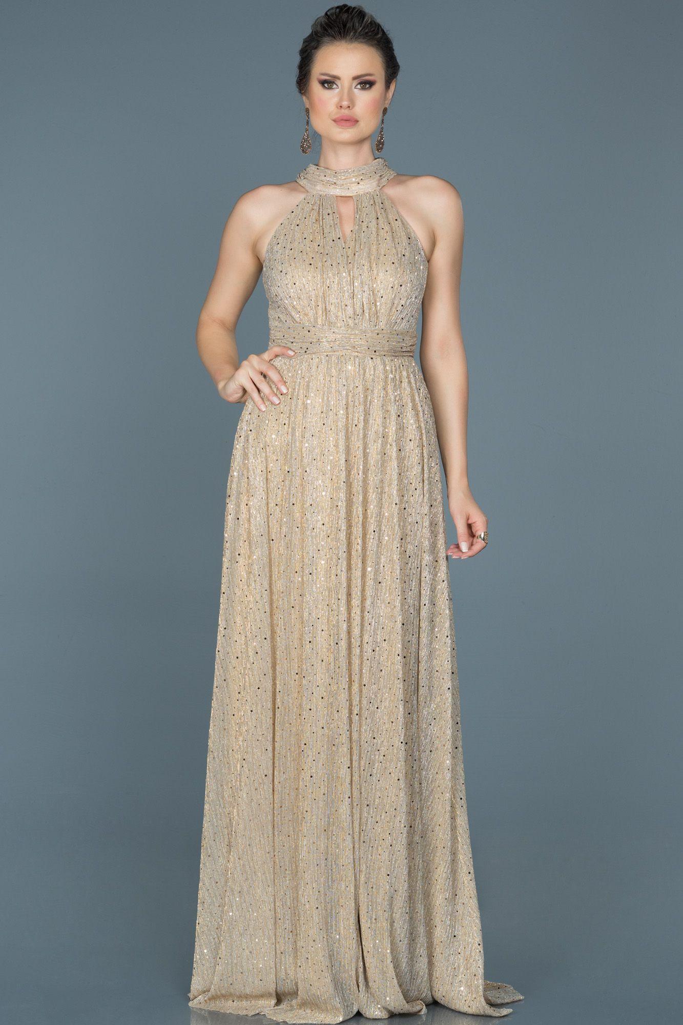 Gold Boyundan Baglamali Simli Abiye Abu413 The Dress Elbiseler Resmi Elbise