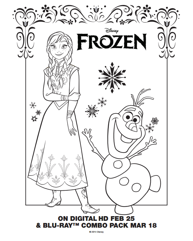 Frozen Coloring Page Sheets Elsa And Olaf Lilys Birthday