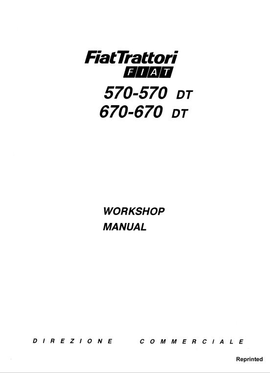 Fiat 570 570dt 670 670dt Tractor Service Manual Fiat Tractors Manual
