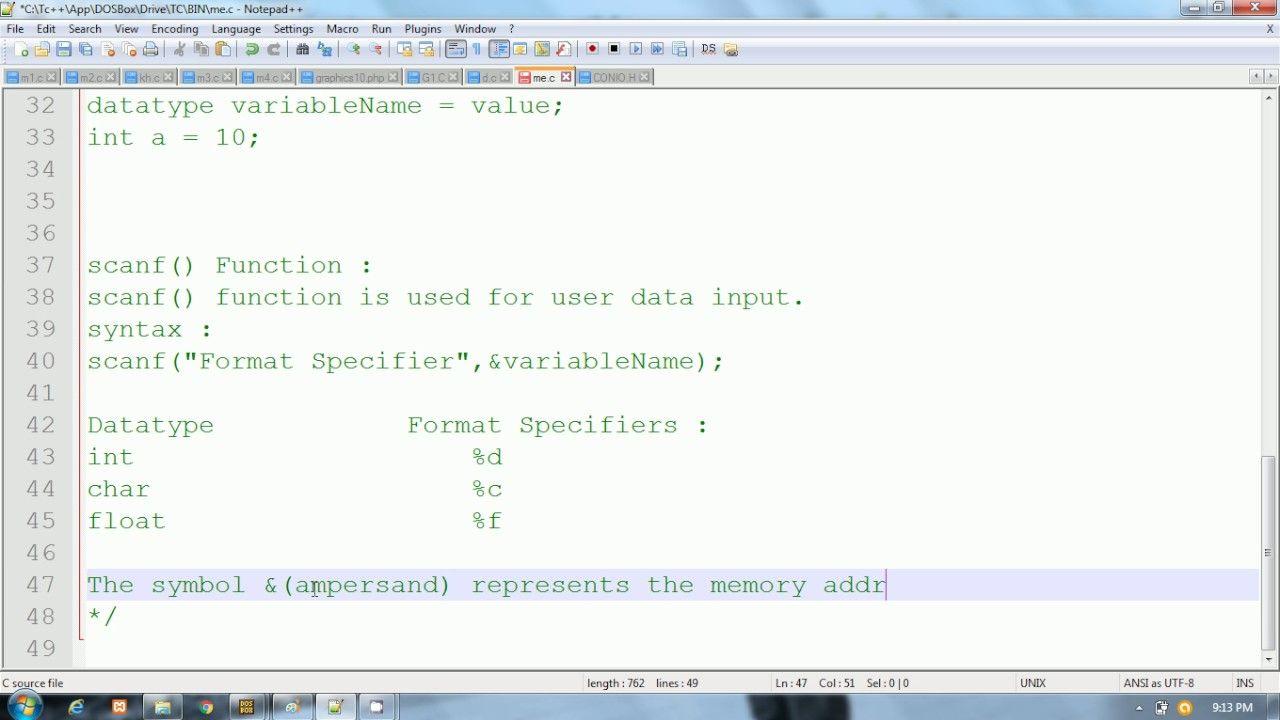 C Programming In Hindi Scanf Function C Programming