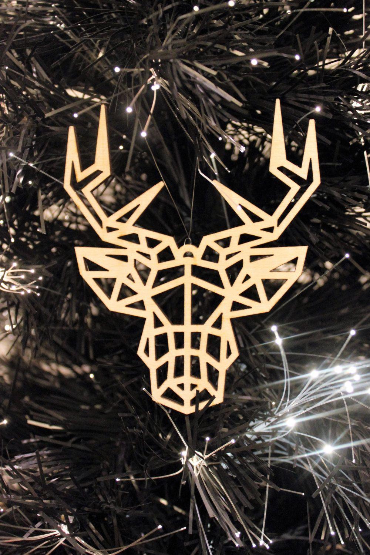 Christmas Tree Decorations Large Geometric Stag Reindeer Laser Cut ...