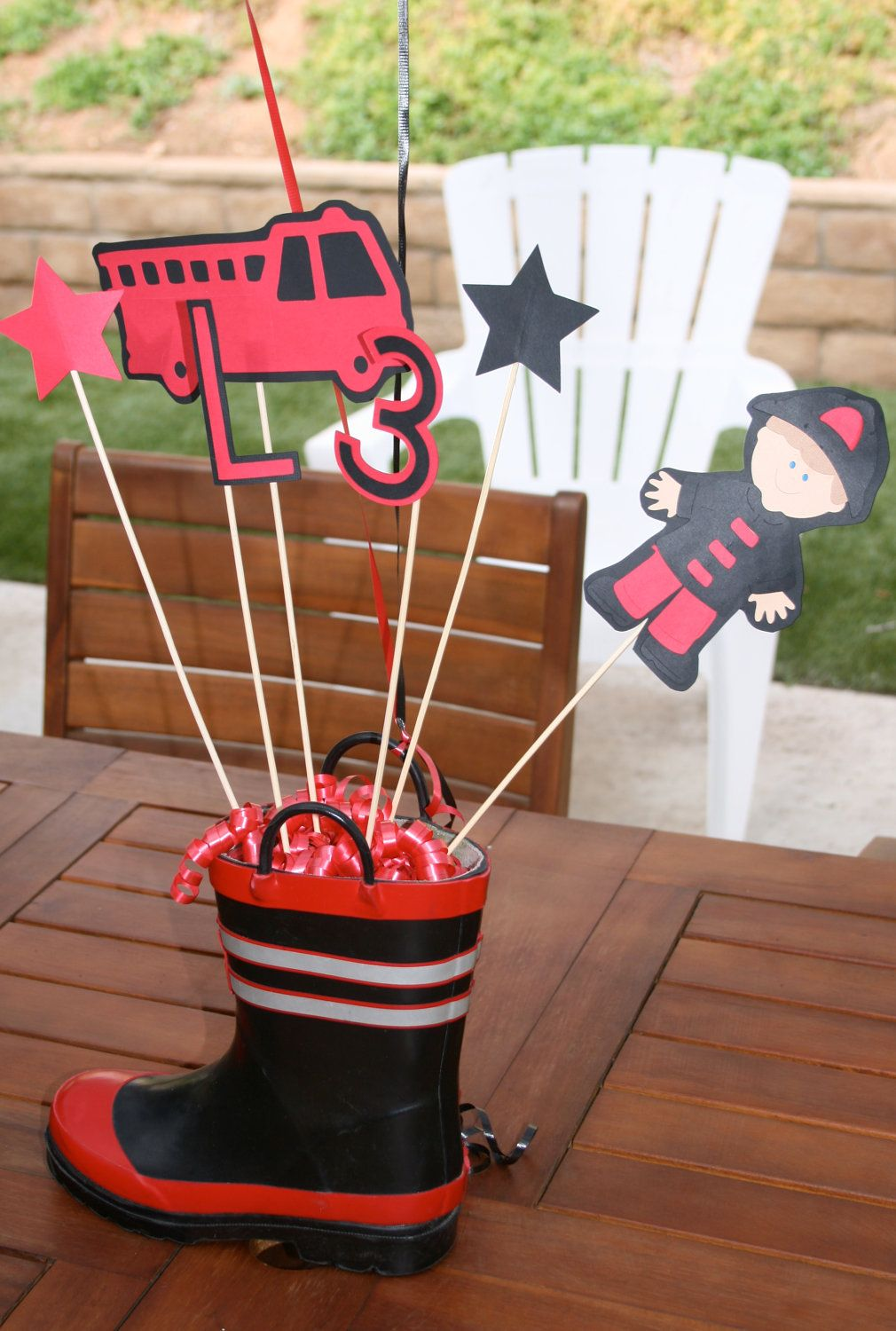 Fire truck man centerpiece custom for your lil