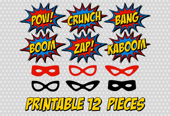 printable superhero photo booth party comic sound effect pop art