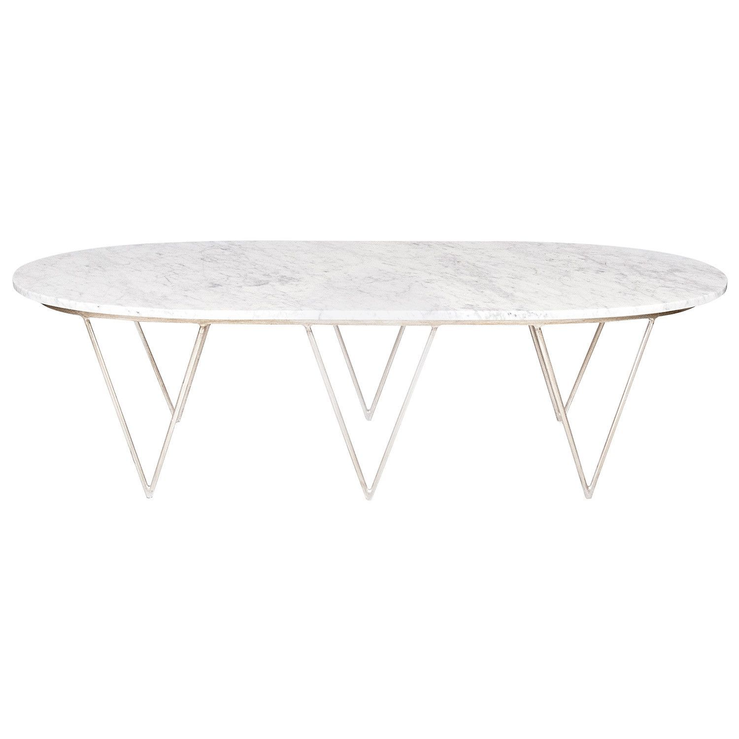 Worlds Away Surf Silver Leaf Coffee Table w White Marble Top