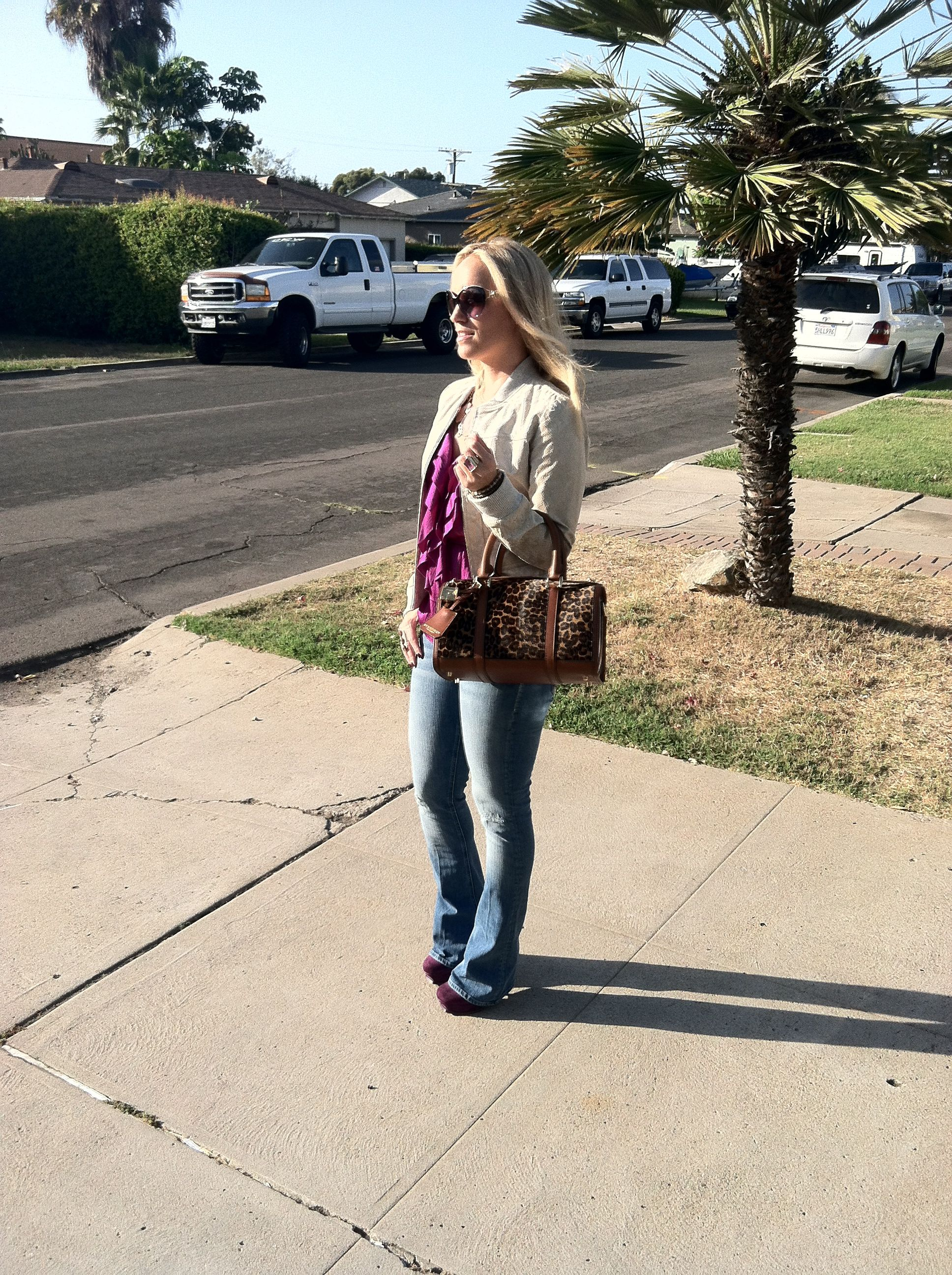 A night on the town Rebecca Taylor snakeskin leather jacket, Rebecca Taylor blouse, Mother denim Jeans, and YSL tribute pumps.  Versace glasses and Burberry bag!