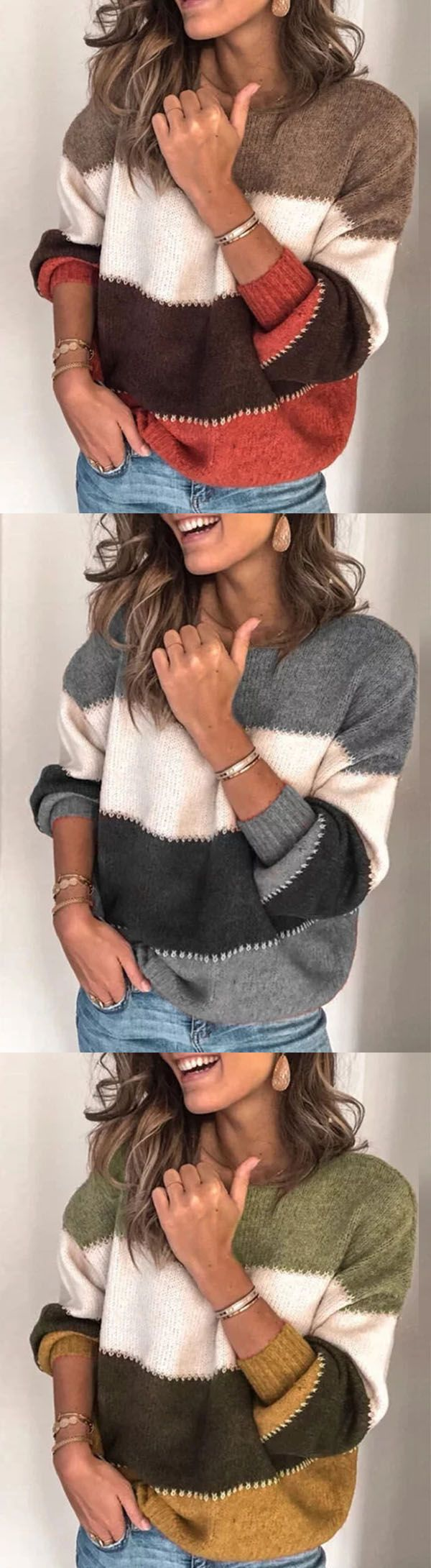 Hot Sale!Plus Size Long Sleeve Casual Sweater 5