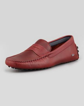 7b29ad151 Lacoste Concourse Leather Penny Driver, Red on shopstyle.com | Mens ...