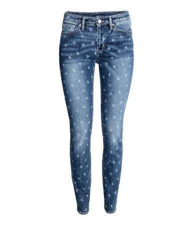 943fc1b06e8 Skinny Regular Jeans | Denimblauw/sterren | Dames | H&M NL | Jeans ...