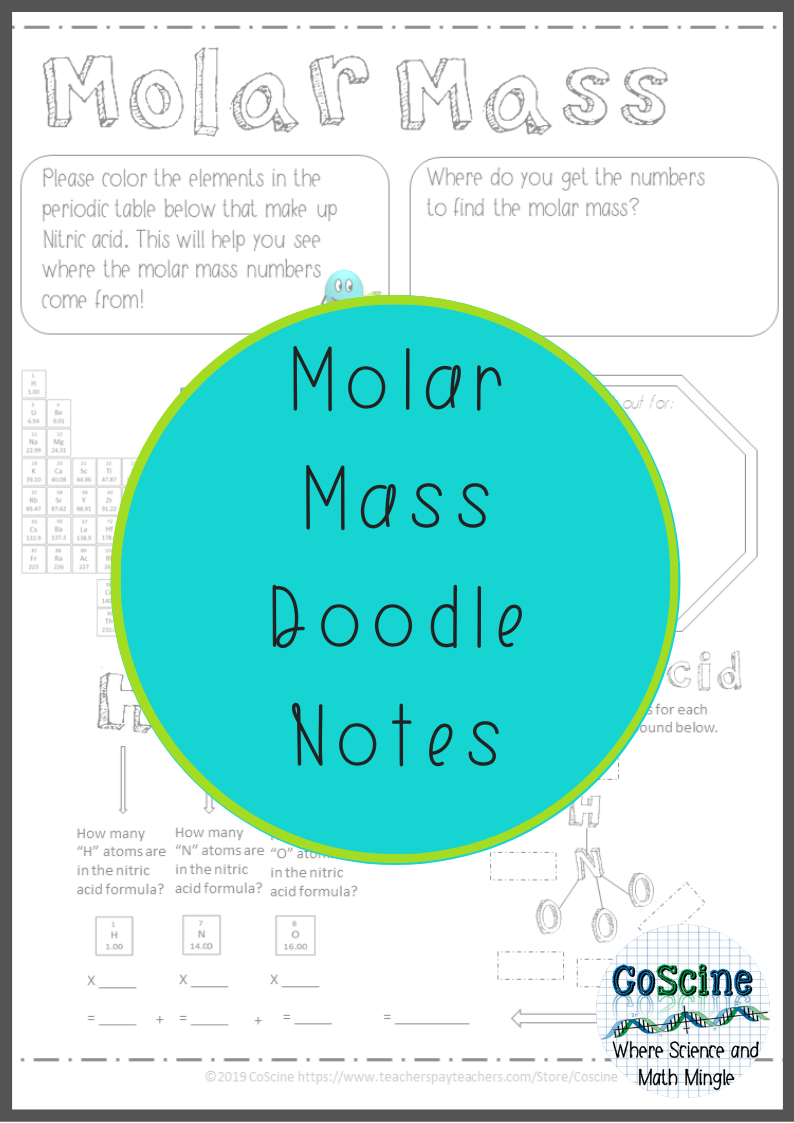 Molar Mass Doodle Notes for Teaching Chemistry in 2020