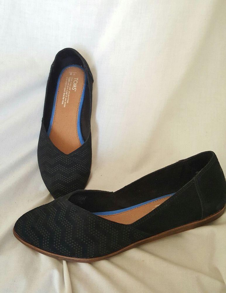 5bc5d79a1ac TOMS Black Suede Diamond Embossed Women s Jutti Flats Shoes sz 8 W ...