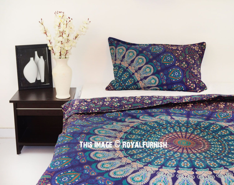 Boho Blue Twin Size Peafowl Mandala Bedding Duvet Set with