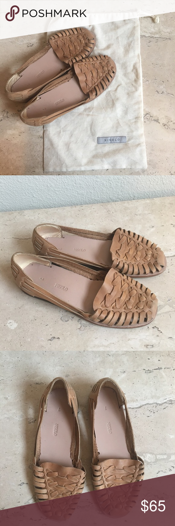 """0e220c0cb9b0 Nisolo """"Ecuador Huarache Sandal"""" in tan leather Nisolo """"Ecuador Huarache  Sandal"""" woven loafers in tan leather - worn only once and in like new  condition ..."""