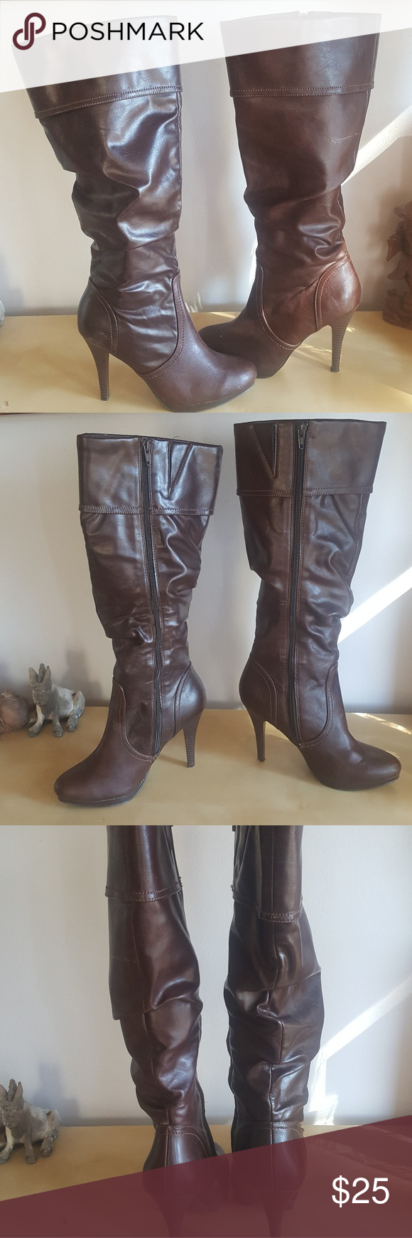 f68381392352d Brown high heeled boots Cute high heel brown boots. Bought from JCPenney.  Worthington Shoes Heeled Boots